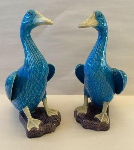 """Beautiful Pair of Antique Stamped CHINA 9"""" Blue Duck Porcelain Figurines"""