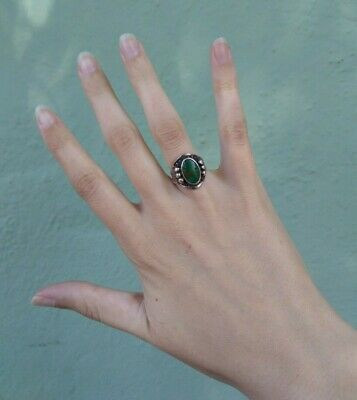 1940s Jewelry Styles and History VINTAGE 1940'S NAVAJO INDIAN SILVER TURQUOISE RING SIZE 4* $165.00 AT vintagedancer.com