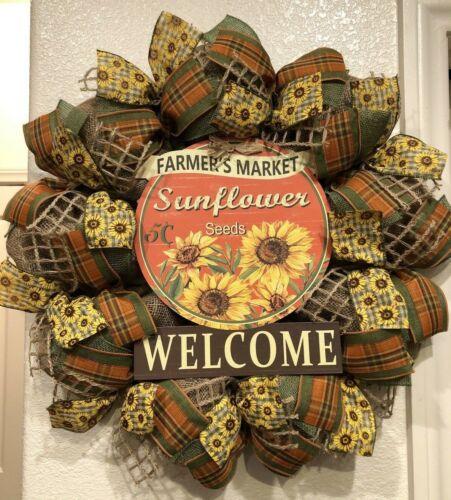 Farmhouse SUNFLOWER 🌻 BURLAP Deco Mesh WELCOME WREATH Fall AUTUMN 24 X 24