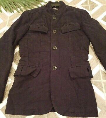 Zara Man Size Small Sport Coat Jacket Military Style Long Button Blazer Black