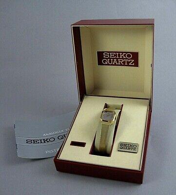 Vintage Seiko 2B20-5019 Jewel Ladies Quartz Watch with Box Gold Toned