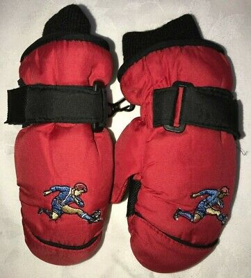 TODDLER BOYS red black WINTER GLOVES MITTENS size 2-4 FLEECE LINED SOCCER PLAYER