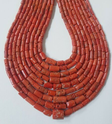 Natural Coral Beads Italian Sea Red,Mediterranean Tube Loose coral Gemstone.L-20