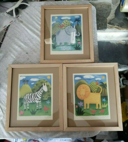 Sophie Harding Animal Prints Framed Set of 3 - Elephant, Zebra, Lion