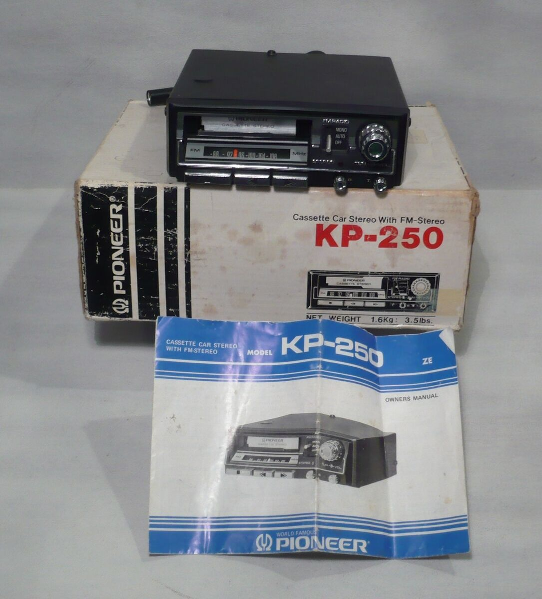 Vintage Pioneer In Dash Car Stereo Cassette Player Kp 250 W Box Nos 1975 Deh 1300mp Clock Set