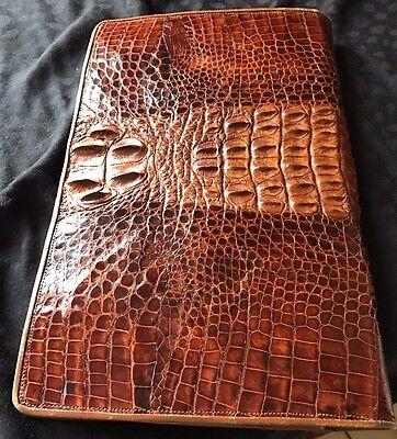 Brown Crocodile Vintage Clutch Bag