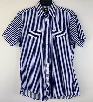 Karman Vintage 1970s Western Pearl Snap S/S Shirt Blue White Striped Mens Medium ()