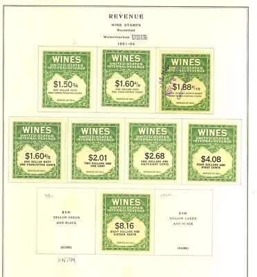 RE183//RE203, Unused/Used Wine Revenue Stamp Collection Cat $449.00 Stuart Katz