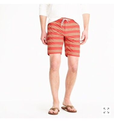 """J.Crew 9"""" board short in red stripe, Red, size 36, NEW"""