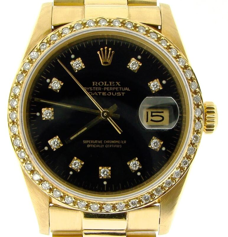 Rolex Datejust 18k Yellow Gold Watch Diamond Dial 1ct Bezel President Style Band