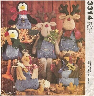 McCall 3314 FF Sewing Pattern Blue Jean Buddies Stuffed Turkey Penguin Reindeer