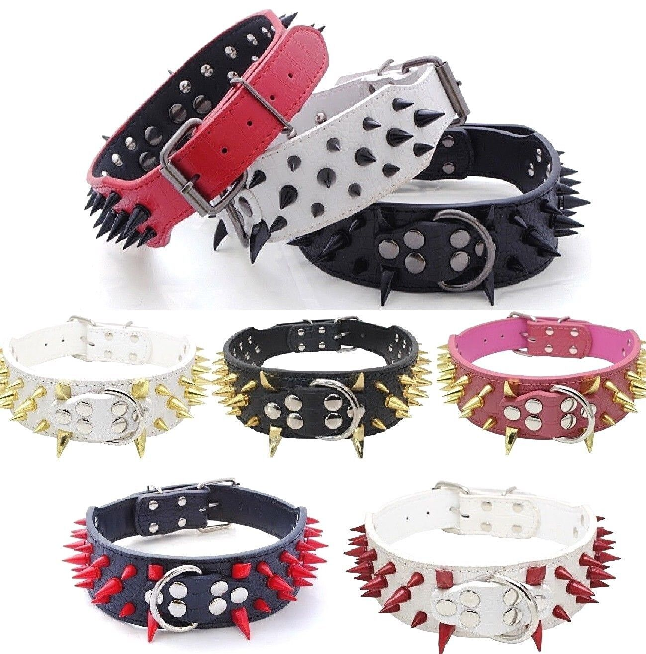 RAZOR SHARP Spiked Studded Rivet PU Leather Dog Pet Puppy Co