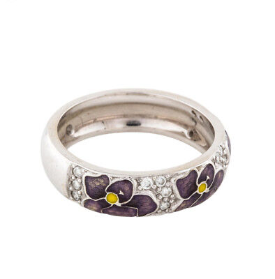 Hidalgo 18K White Gold Purple Enamel Pansy Flowers Diamond Pave Stackable Band (Hidalgo Flower)