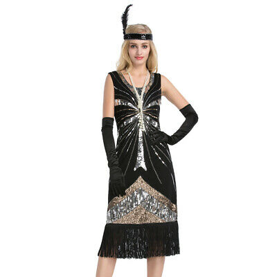Women 1920's Vintage Style Flapper Tassel Sequin Dress Gatsby Cocktail Party