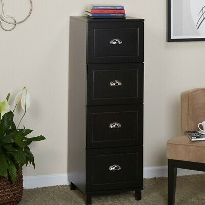 Filing Cabinet 4-drawer Engineered Wood With Half Moon Handles In Black Finish