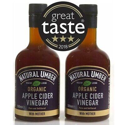 Natural 100 % Organic Apple Cider Vinegar Mother 2 x 500ml Raw Unfiltered Umber