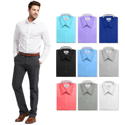 Men's Slim Fit Button Up Convertible French Cuff Solid Color Formal Dress -