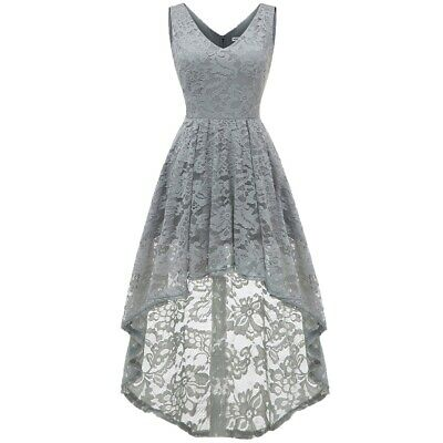 Women V Neck Floral Lace Overlay High Low Dress Prom Formal Cocktail Party