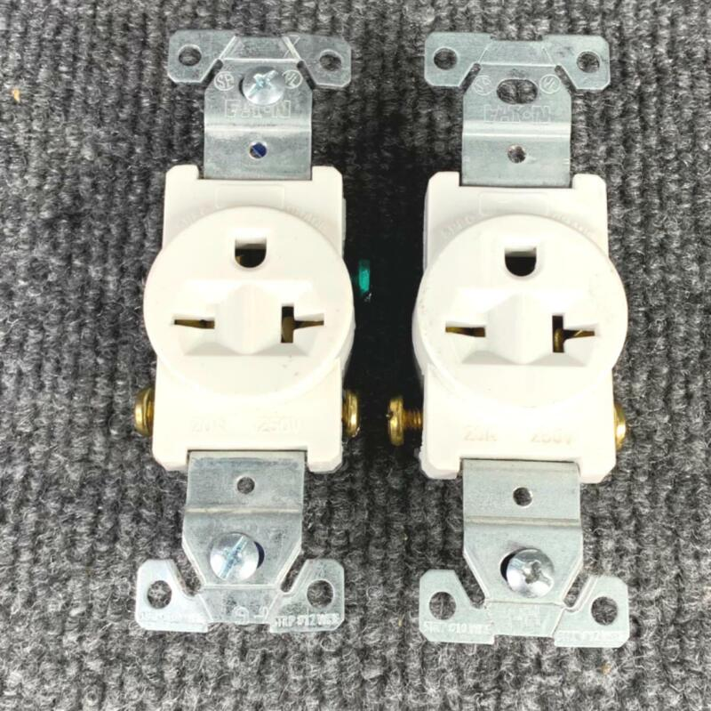 Pack of 2 Eaton Single Outlet Receptacle 20 Amp 250 VAC