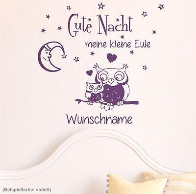 Wandtattoo Wunschname Gute Nacht kleine Eule Sterne Kinderzimmer Baby Sprüche 6G