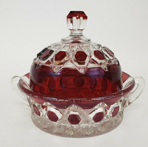 Antique EAPG Red Block Ruby Stained Glass Covered Butter Dish with Handles 1880s