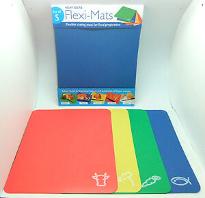 Flexi Mats set of 5 flexible chopping boards colour coded for different foods