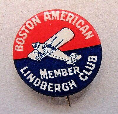 late 1920's original BOSTON AMERICAN MEMBER LINDBERGH CLUB pinback button +