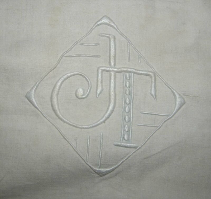 Pair New French Sheet Hand Embroidered Monogram J T Ladderwork Hem FS08 BB2