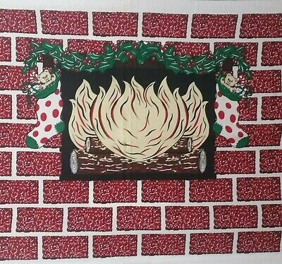 Christmas Fireplace Fabric Panel Wall Decor Apartment Dorm Holiday Faux -