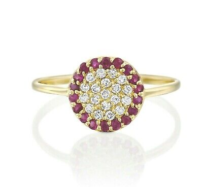 Diamond Ruby Pave Ring - 14K Solid Yellow Gold Ruby and Diamond Cluster Pave Round Circle Ring Size 7