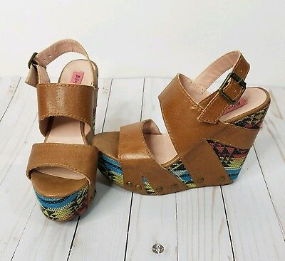 Betsey Johnson Ajaya Natural Leather Brown Multi-Color Woven Wedges Sandals 6.5 ()