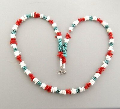 Vintage Shell Turquoise and Coral Bead Necklace in 7 mm 20""