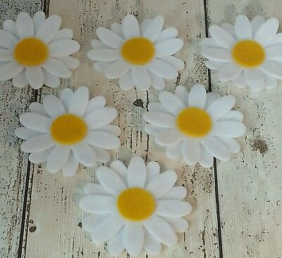 White Daisy flowers, large felt daisies, die cut felt applique, triple layered