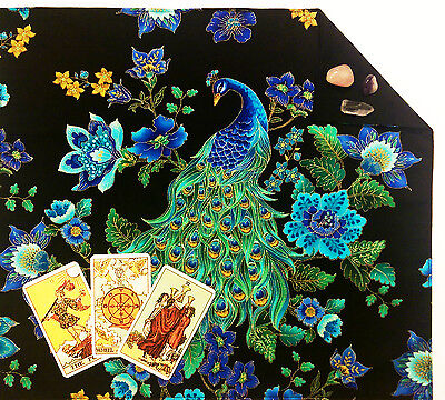 "Lined Peacock Tarot Cloth or Altar Cloth 18""x20"" Floral Spread"
