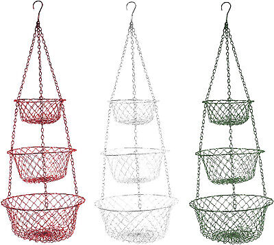 Fox Run Brands 3 Tier Hanging Fruit Vegetable Kitchen Storage Mesh Basket - (3 Tier Hanging Fruit Vegetable Kitchen Storage Basket)