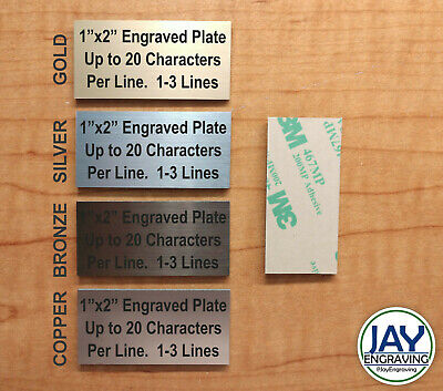 Custom Engraved 1x2 Plate - Adhesive-backed Personalized Customized Sign Plaque