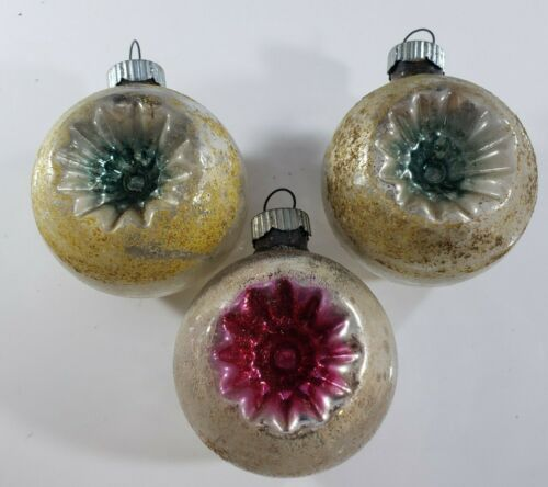 Vintage Christmas Ornament Mercury Glass Shiny Brite Double Indent Lot