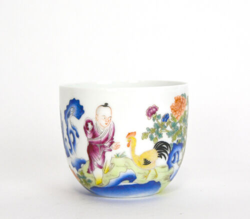 Rare Chinese Qing Qianlong MK Fencai Boy and Rooster Calligraphy Porcelain Cup