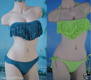 New-Lady-Womens-Girls-Swimwear-Padded-Fringes-Bandeau-Top-bikini-Sets-Solid-Bras