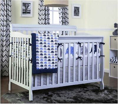 5 in 1 Convertible Baby Toddler Bed Crib Gray Home Nursery Bedroom Furniture