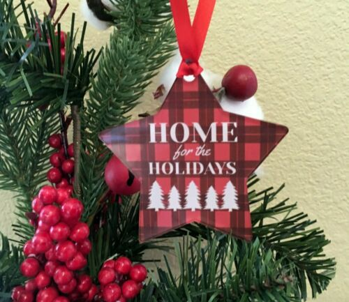 """Christmas STAR Ornament, """"Home for the Holidays, Plaid, Sublimated Acrylic, Gift"""
