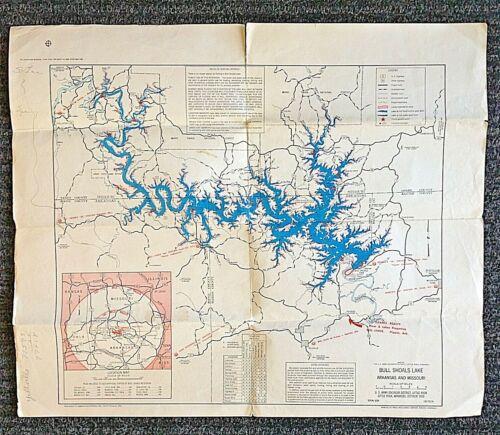 Vintage Arkansas Missouri Map Bull Shoals Norfolk Lake US Army Engineer District