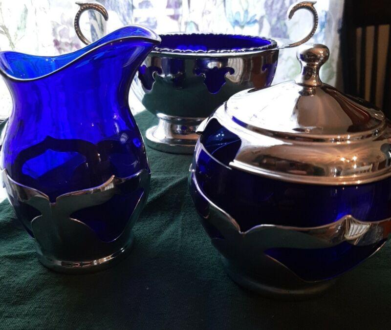 MCM Farber Brothers Cobalt Blue 3 Piece Tea Service *Rare*