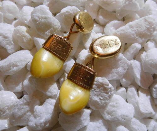 Masonic Lodge Elk Tooth Solid Yellow 14k Gold Cuff Links Cufflinks - Dent - Mono