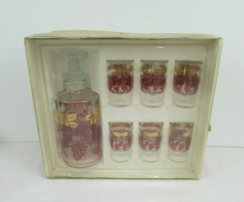 Vintage Decanter & Glasses Set Service Liqueur Luminarc France Gold And Purple