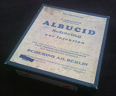 Antique Medical Pharmaceutical   Albucid Shering Berlin  Unopened Box W 5 Amp