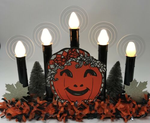 Black 5-Light Halloween/Harvest Candolier w/Vintage JOL/Pumpkin die cut & Halos