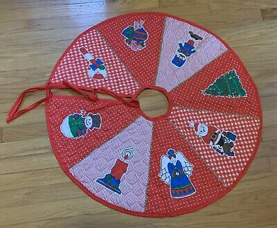 Vintage Christmas Tree Skirt Small Handmade Circular Border Quilted Red Pattern