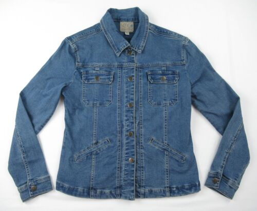 women s burlap cross denim jacket size