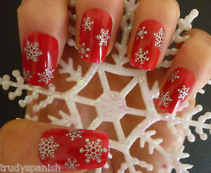 Christmas Silver Snowflakes Design 3D Nail Art Stickers Decals  -  NEW